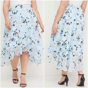 LANE BRYANT Floral A-Line Faux-Wrap Ruffle Skirt